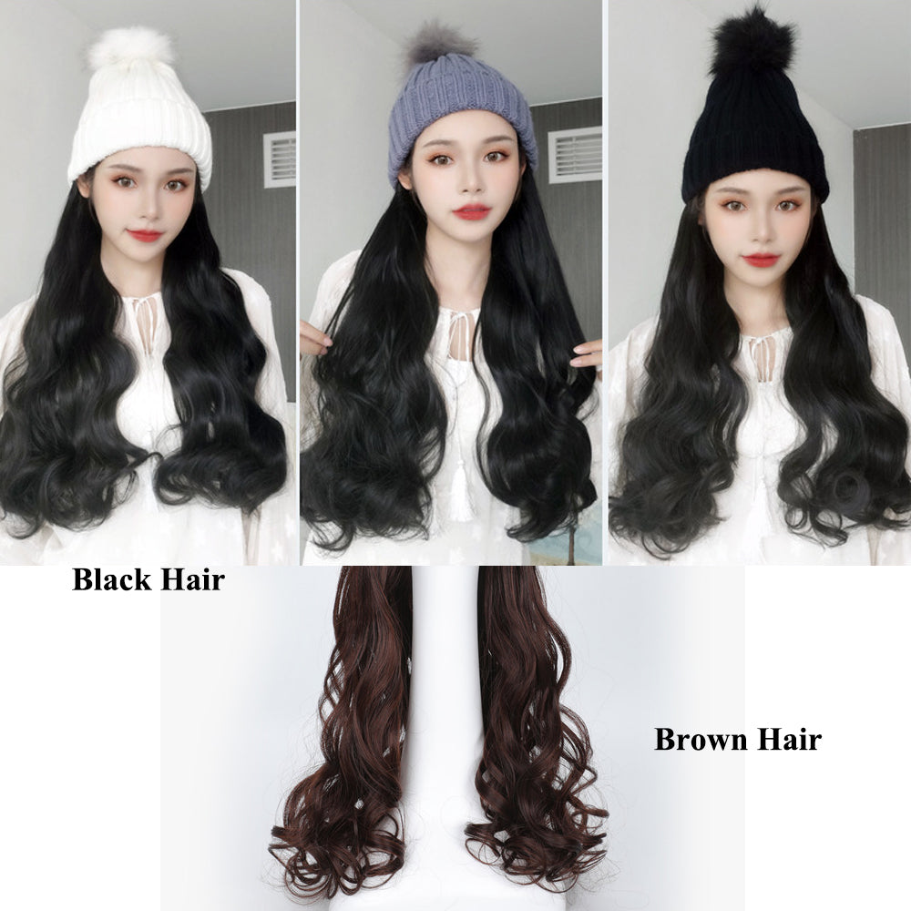 Beanie with Synthetic Long Wavy Hair