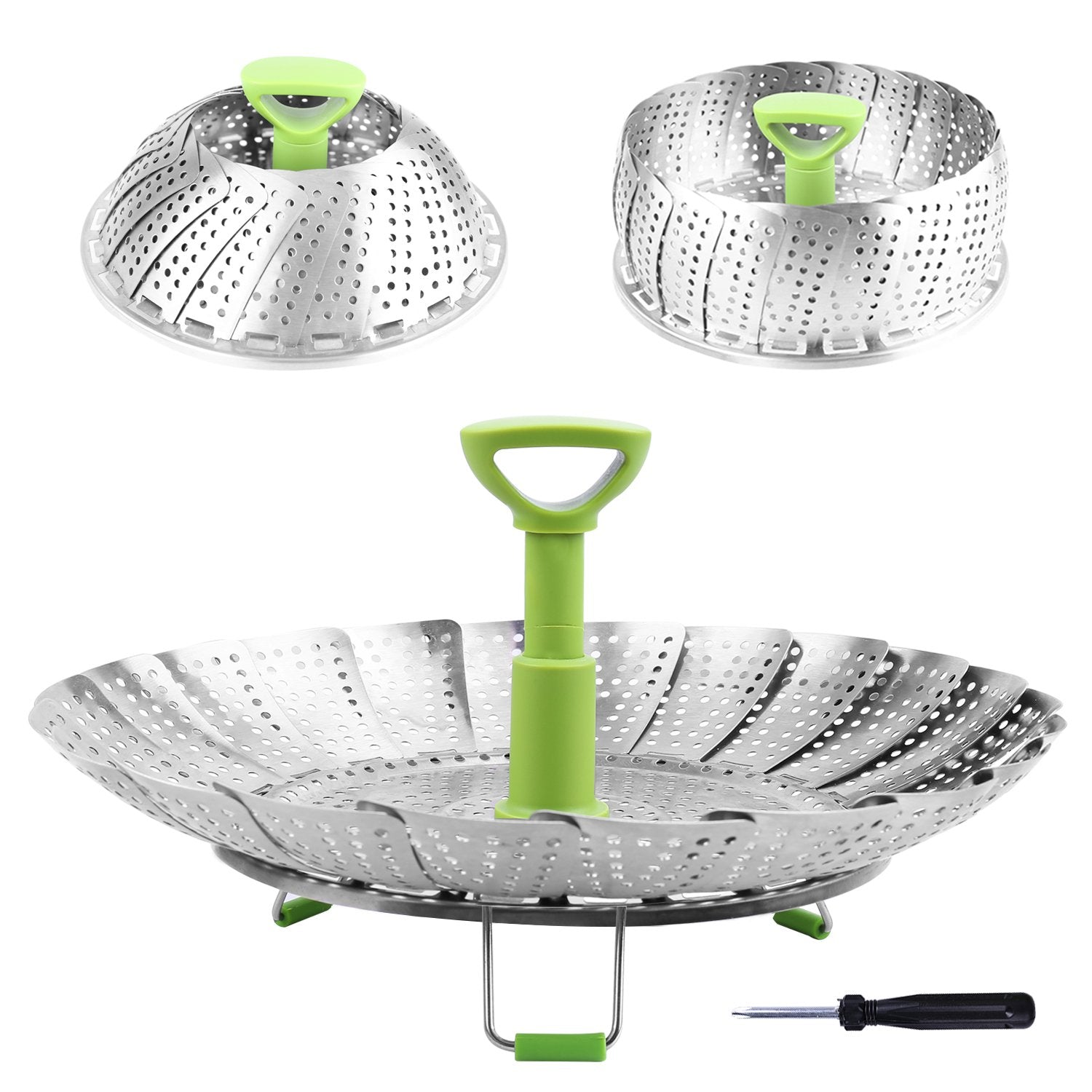Collapsible Stainless Steel Steamer with Extendable Handle