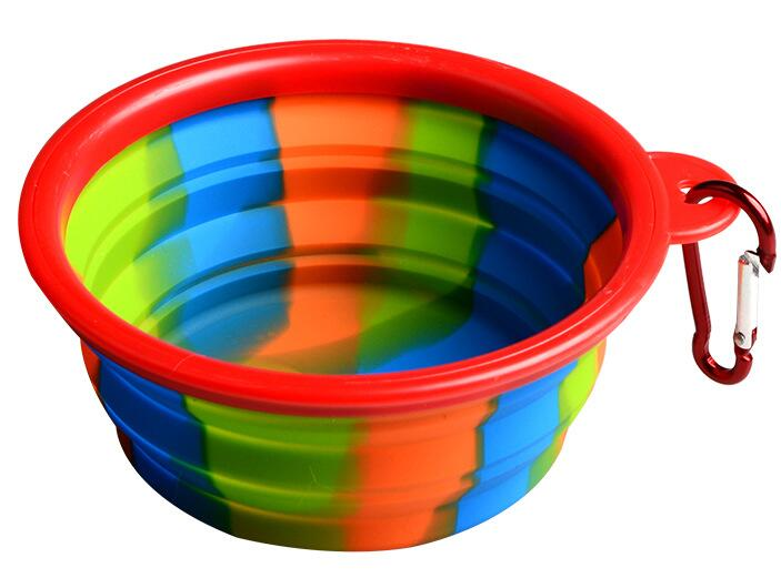 Collapsible Camouflage Silicone Dog Bowl for Outdoor Feeding