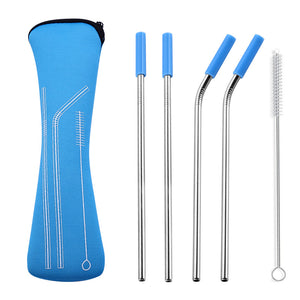 "【50% OFF TODAY】8.5"" Long Stainless Steel Straws with Storage Bag"