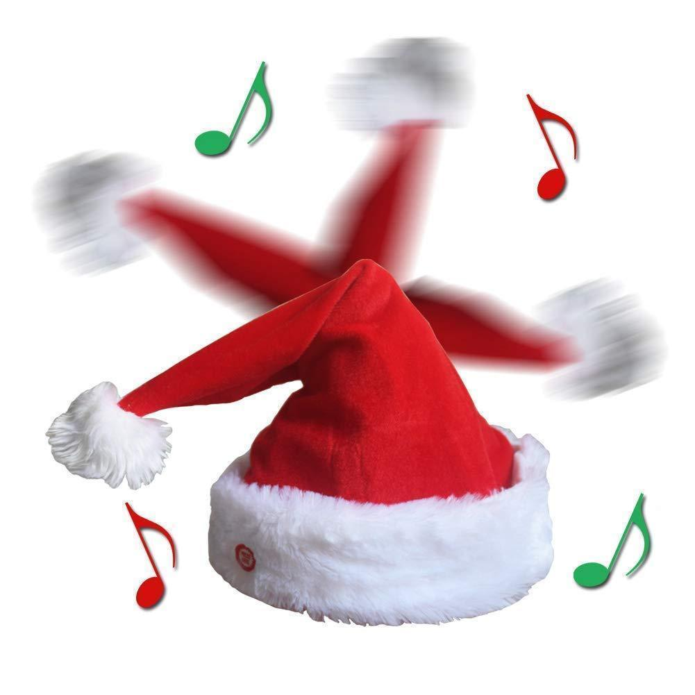 Christmas Singing Dancing Santa Hat Red Santa Cap with Plush Trim