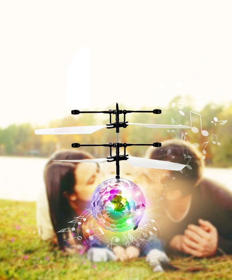 Colorful light transparent crystal ball Magic suspension aircraft
