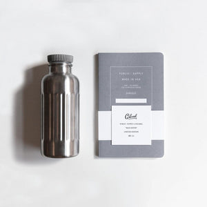 "Stainless Steel Water Bottle + 5x8"" Embossed Notebook"