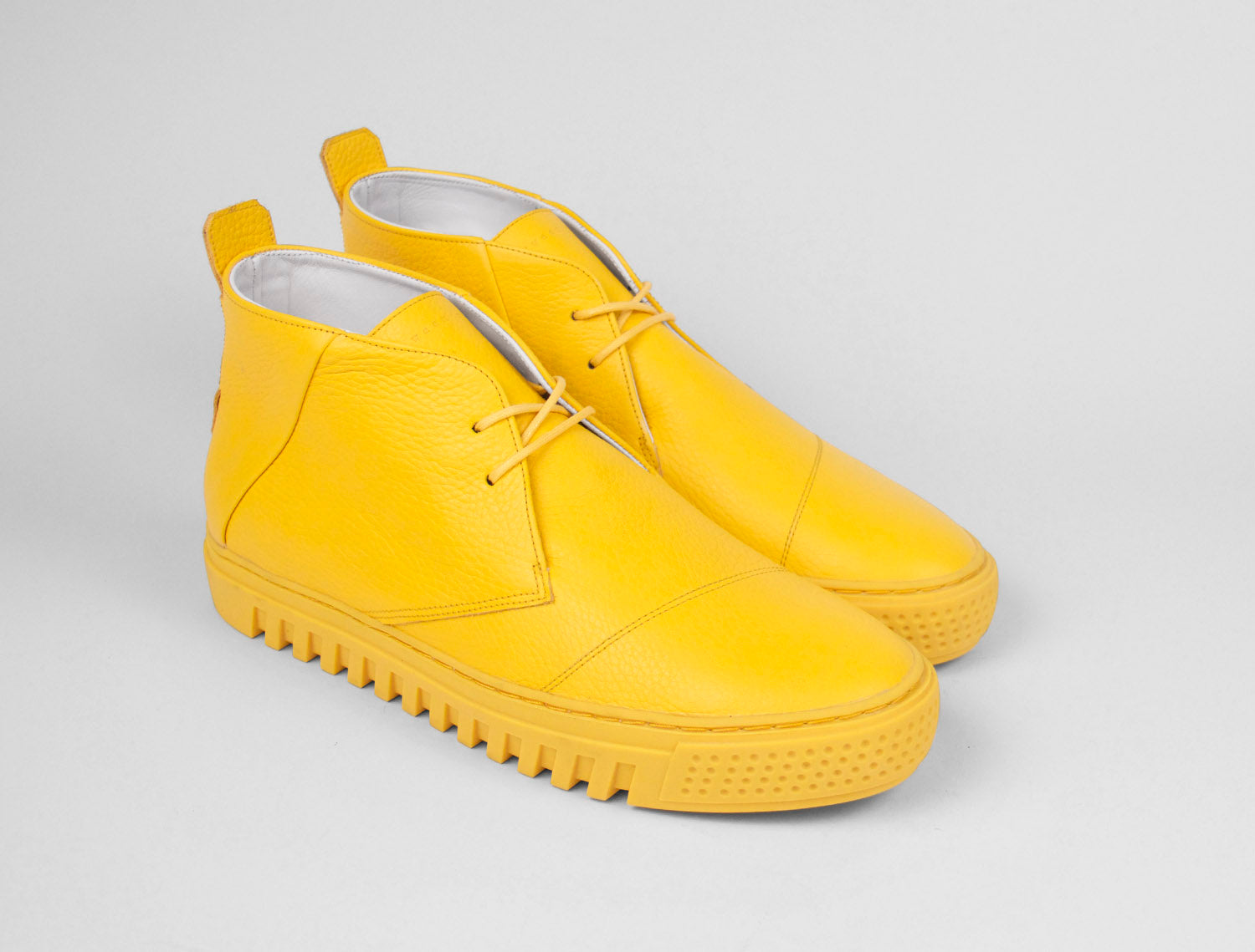 Womens Chukka Trainer in Canary Yellow Tumbled Leather