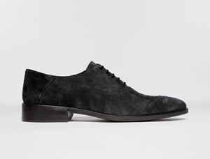 Asymmetrical Cap Toe Oxford in Black Suede