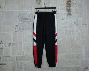 Jersey Skinny Joggers In Black With Side Stripes