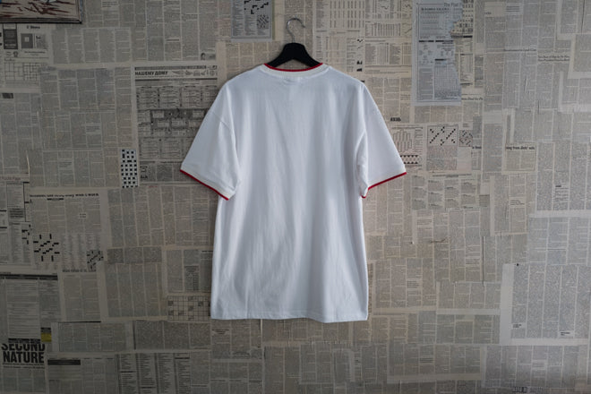 Two tone collar T-shirt in White