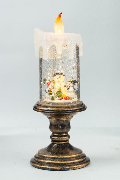 Christmas-Snowglobe Candle Scene