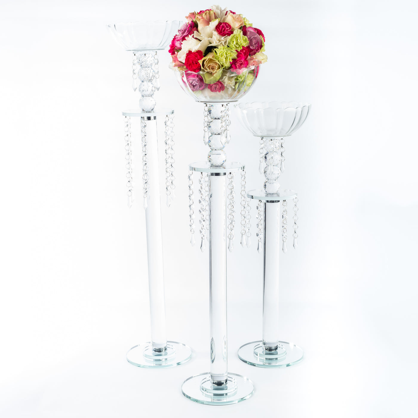 Single Candle Holder With Crystal Bowl - Small