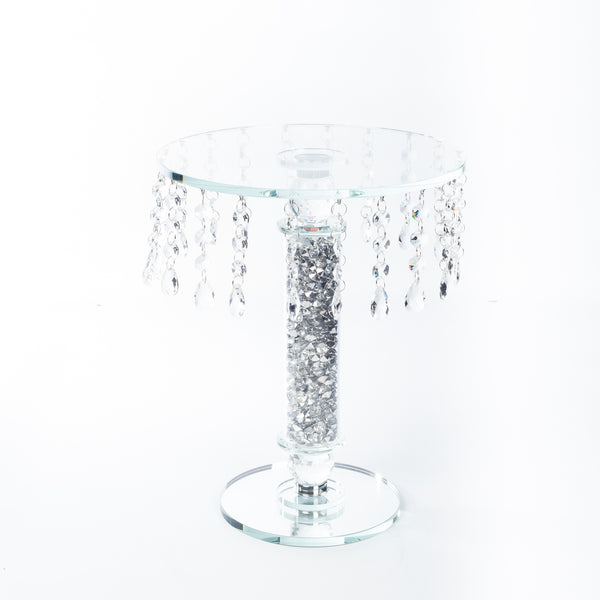 1 Tier Cake Stand with Silver Beads - Medium