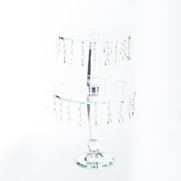 2 Tier Crystal Cake Stand - 48cm