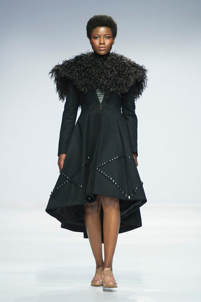 Black hi-lo wool coat with button detail and statement wool collar