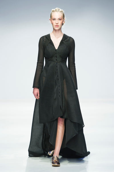 Black hi-lo mesh shirtdress with wool embroidery over back and sides