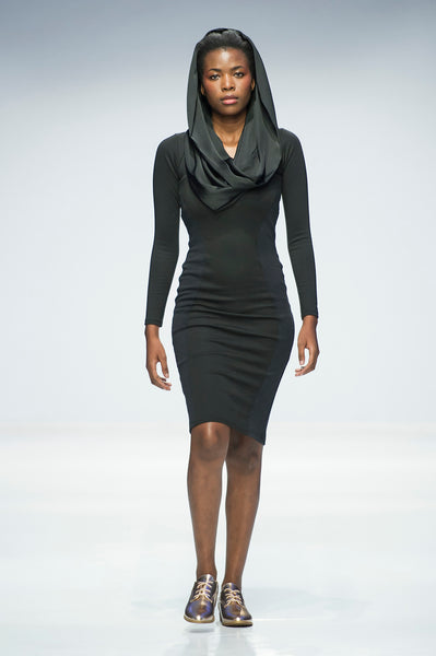 Black pencil dress with satin cowl / hood