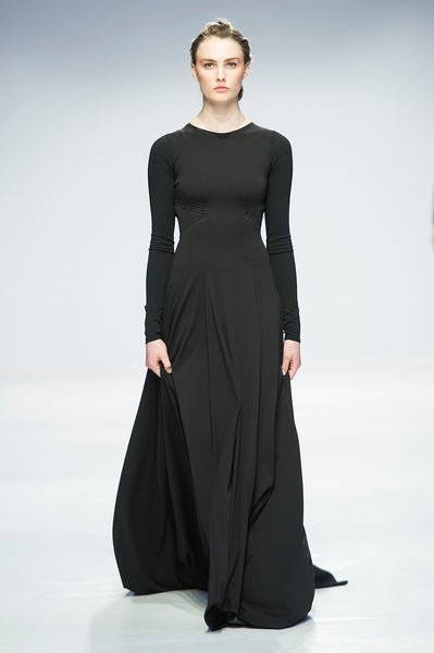 Black full length dress with woven elastic detail over open back