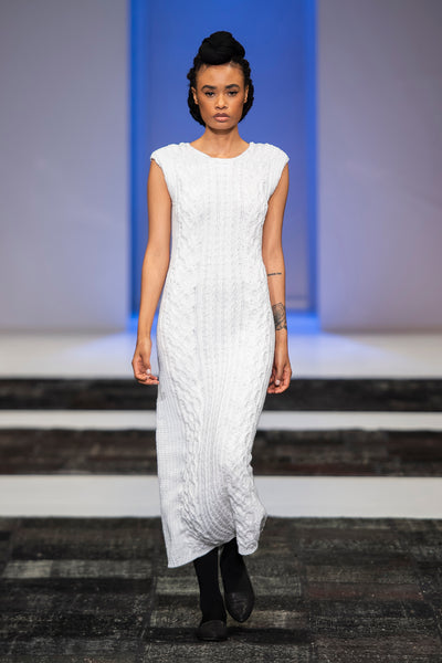 White hand knitted midi length pencil dress