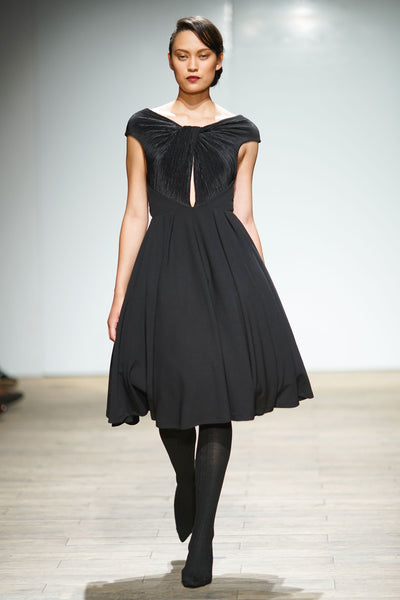 Black hour glass dress with pleated twist detail on bodice