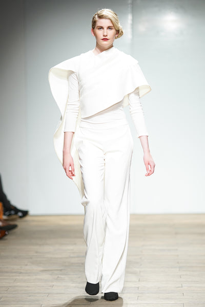 White draped shawl with white trousers