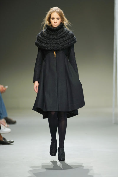 Black knee length wool coat with hand knit wool collar