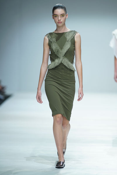 Olive green pencil dress with criss cross fringe detail on bodice