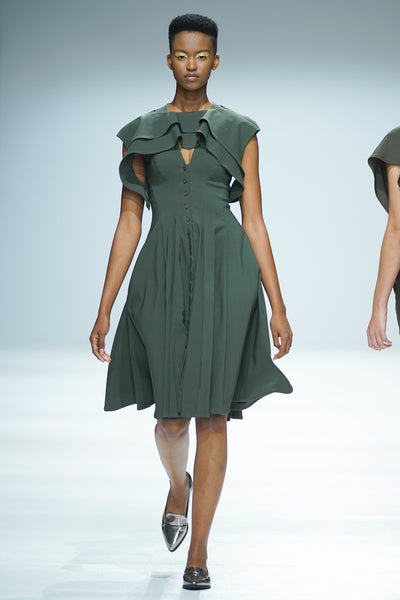 Olive Green fit and flare shirt dress with ruffle capelet