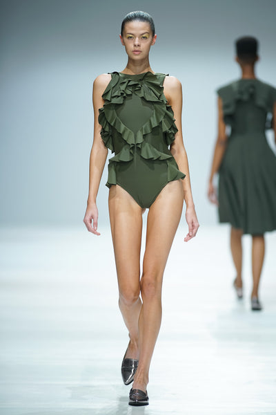 Olive Green swimsuit with criss cross ruffle detail