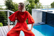 ERRE - Fire Red wide leg pants