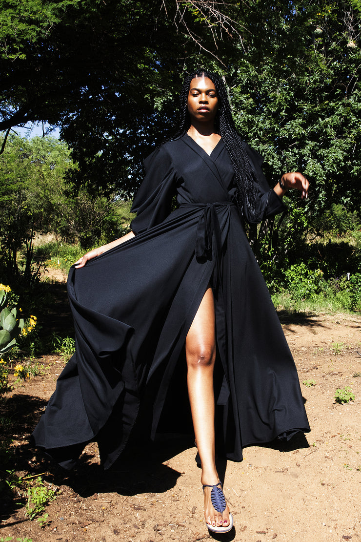 ERRE - Black maxi length cover up