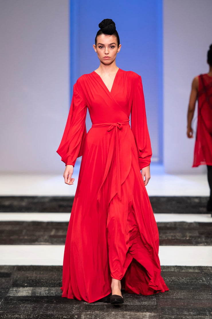 Dancing Lady Maxi Wrap Dress - Red