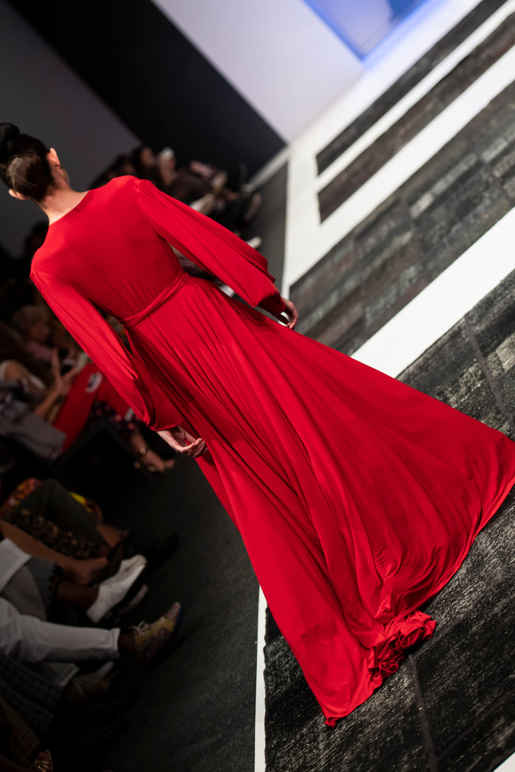 Red Dancing Lady Maxi Wrap Dress
