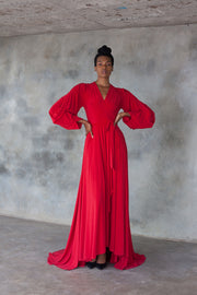 Red maxi wrap dress