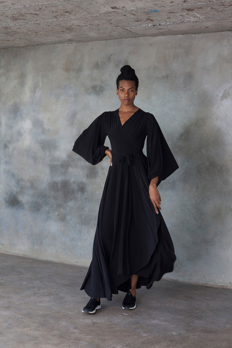 Black maxi wrap dress