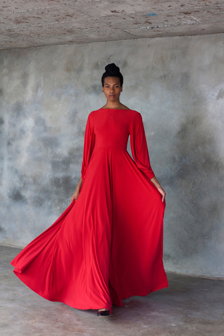 Red maxi dress with statement sleeves
