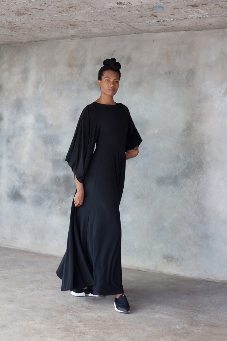 Black maxi dress with statement sleeves