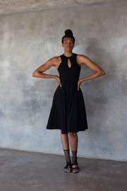 ERRE black fit and flare dress with keyhole detail
