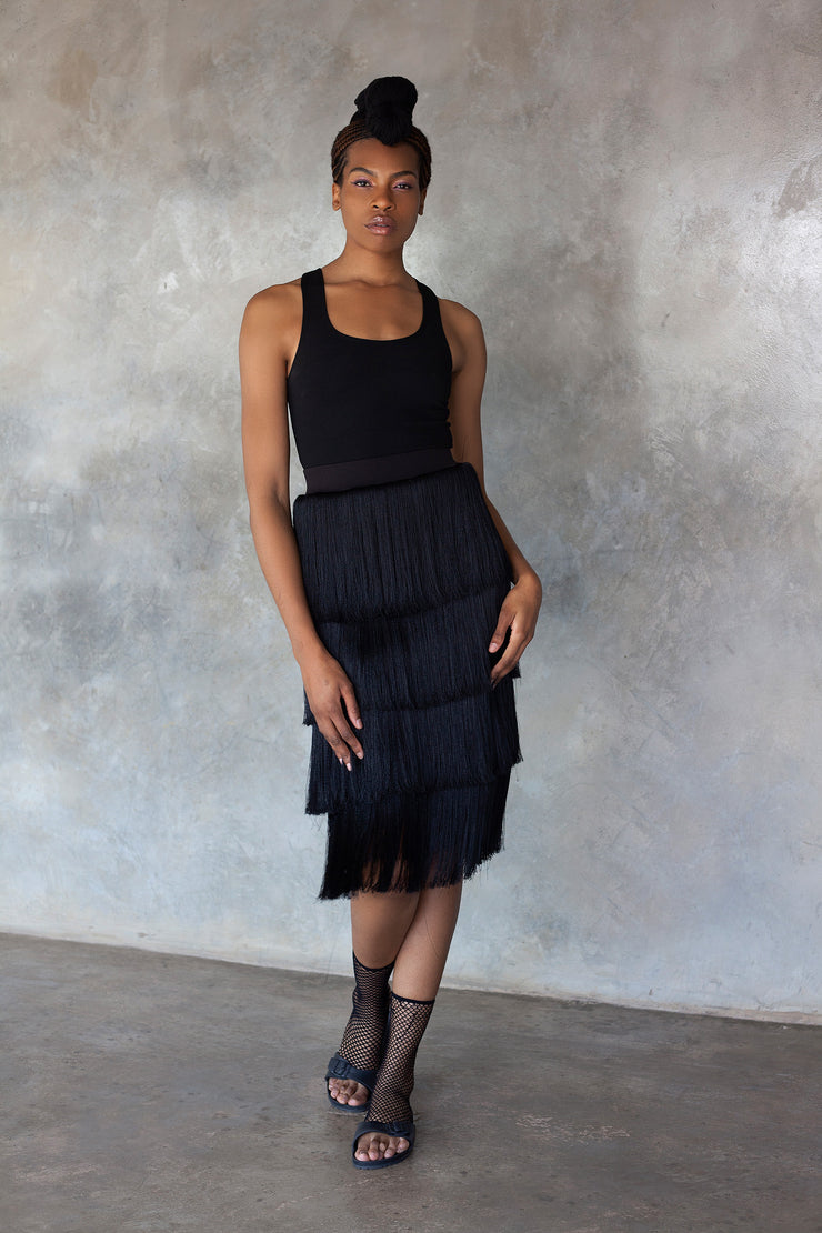 ERRE black fringe skirt