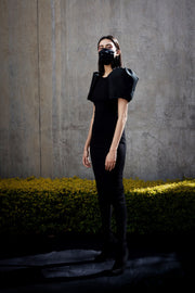 ERRE black cotton pleated mask with respirator