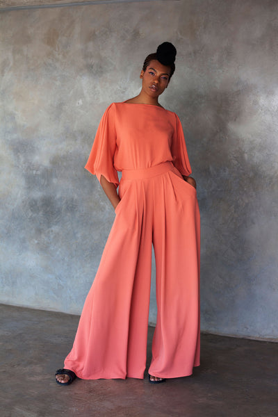 ERRE coral wide leg pants