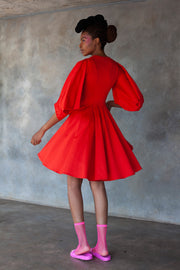 Red Flare Shirt dress