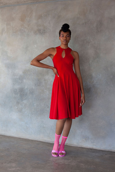 ERRE red fit and flare dress with keyhole detail