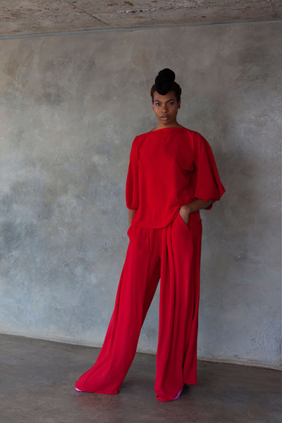 ERRE red wide leg pants