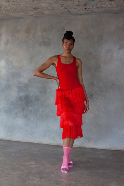 ERRE red fringe skirt