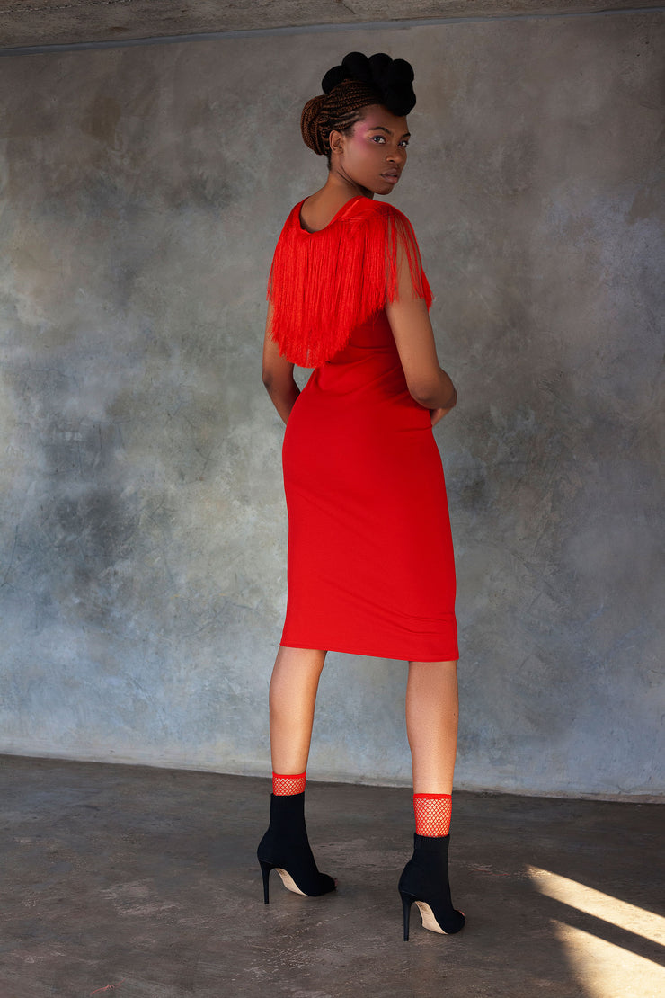 ERRE red pencil dress with fringe detail around neckline