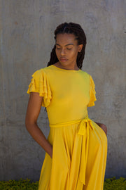 ERRE FLUTTER dress in yellow
