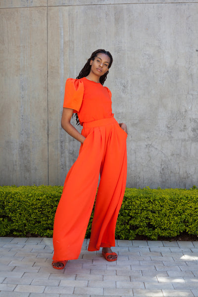 ERRE STRIDE wide leg pants in Orange