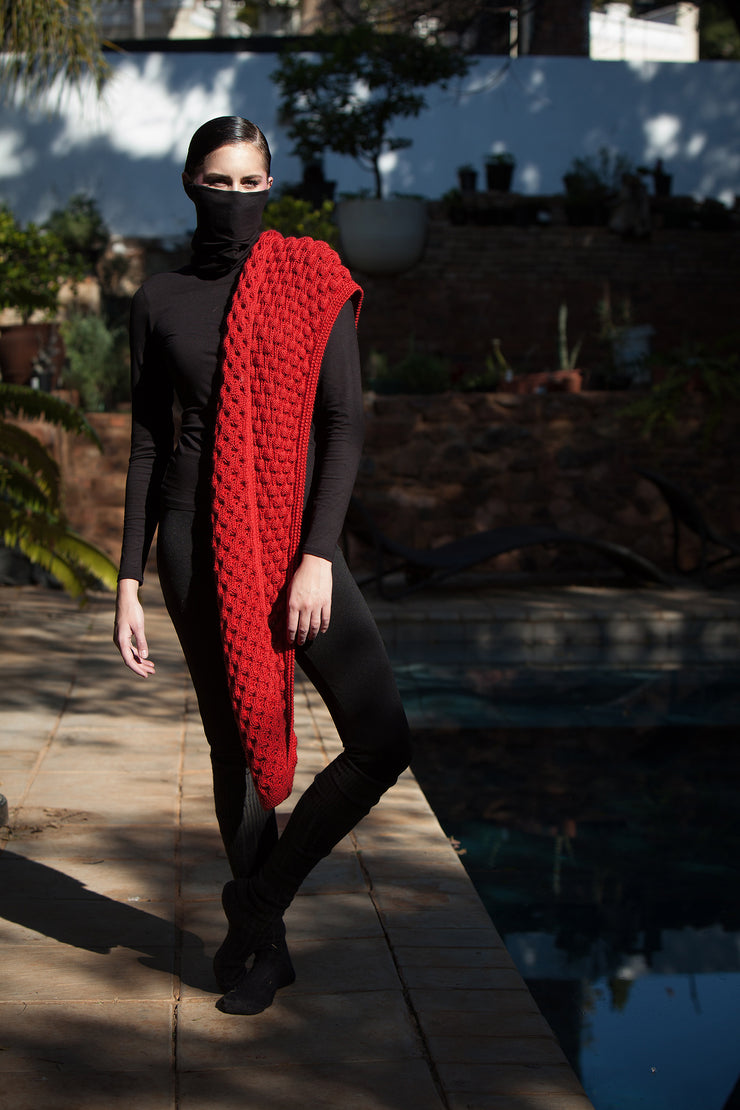 ERRE red mohair knitted scarf