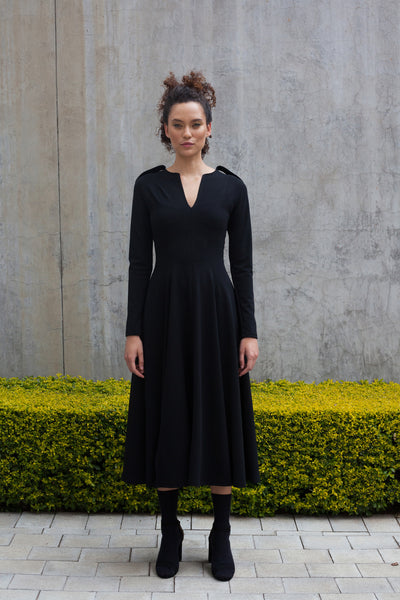 ERRE Black COMMANDER fit and flare dress