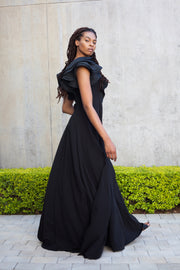 ERRE Flounce dress in black