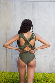 ERRE frill swimsuit in olive