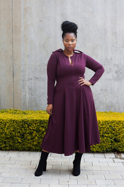 ERRE Wine COMMANDER fit and flare dress